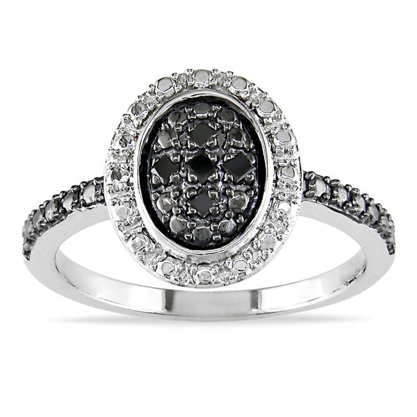 Sterling Silver Black Diamond Accent Ring