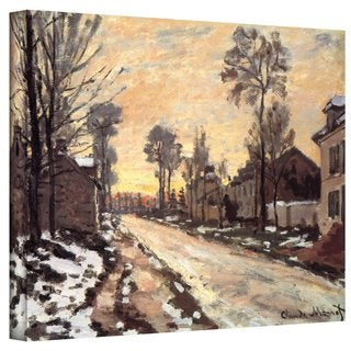 Claude Monet 'Snowy Country Road' 36x48 Gallery Wrapped Canvas