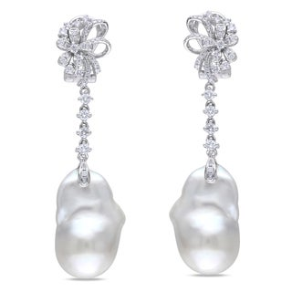 Miadora Signature Collection 14k White Gold Cultured Freshwater Pearl and 3/4ct TDW Diamond Earrings (G-H, SI1)