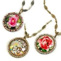Sweet Romance Goldtone Glass Dome Necklace