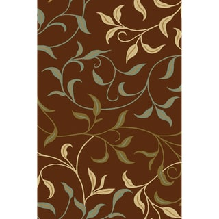 Non-Skid Ottohome Brown Floral Area Rug (3'3 x 5') - 3'3 X 5'