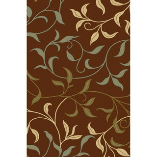 Non-Skid Ottohome Brown Floral Area Rug (3'3 x 5')