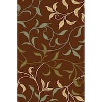 Non-Skid Ottohome Brown Floral Area Rug - 3'3 x 5'