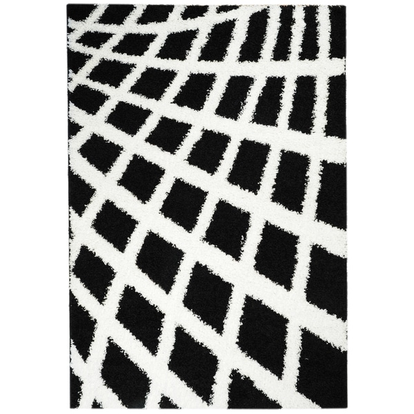 Contemporary Boxes Black and White Shag Area Rug (3'3 x 4'7)