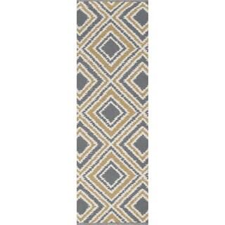 Hand-woven Tioga Gold Wool Runner Rug (2'6 x 8')
