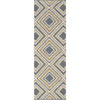 Hand-woven Tioga Gold Wool Runner Area Rug - 2'6 x 8'