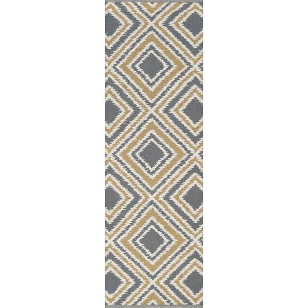 Shop Hand Woven Tioga Gold Wool Runner Area Rug 2 6 X 8