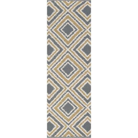 """Hand-woven Tioga Gold Wool Runner Area Rug - 2'6"""" x 8' Runner"""