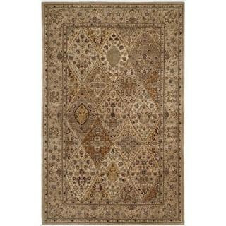 Hand Tufted Nourison 2000 Curved Diamonds Light Gold Rug (7'9 x 9'9)