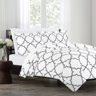 Echelon Home Quatrefoil Cotton 3-piece Duvet Cover Set