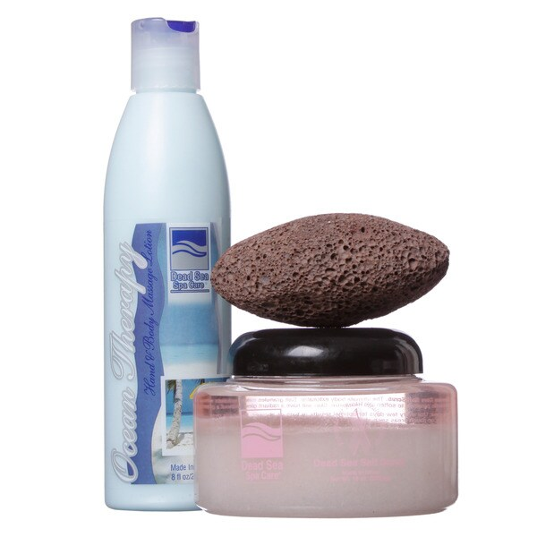 Dead Sea Spa Care 10 oz. Dead Sea Salt Scrub, 8 oz. Hand and Body Massage Lotion, and Pumice Stone 3-piece Skin Care Set