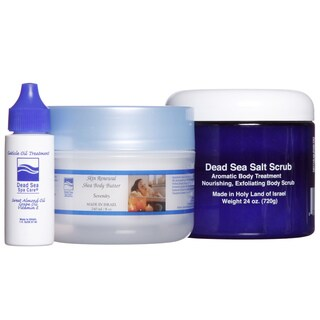 Dead Sea Spa Care 24 oz. Salt Scrub, 8 oz. Body Butter, and Cuticle Oil 3-piece Skin Care Set