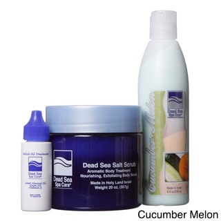 Dead Sea Spa Care 3-piece Dead Sea 20 oz. Salt Scrub, 8 oz. Cucumber/ Melon Massage Lotion, and 1 oz. Cuticle Oil Set