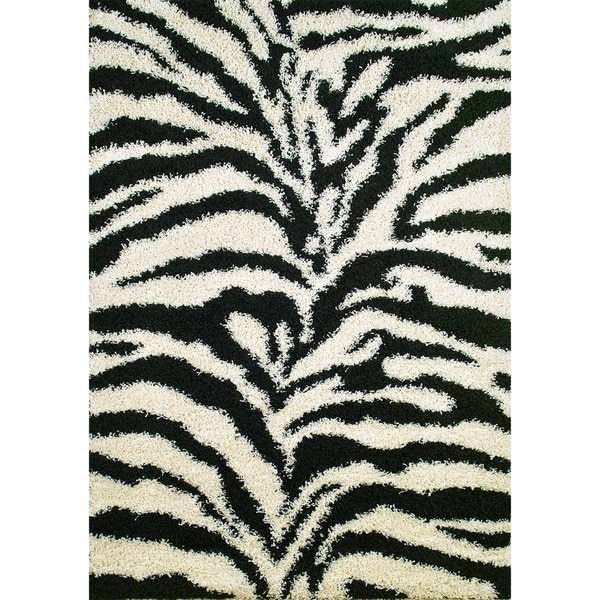 Machine -made Mod Collection Exotic Black Polypropylene Rug(5' x7' )