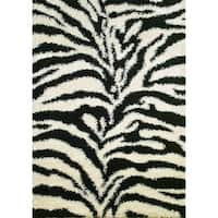 Concord Global Shaggy Exotic Black Area Rug - 5' x 7'