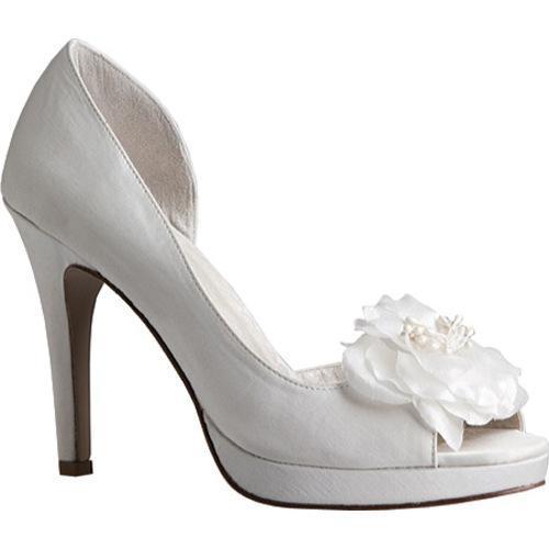 Women's Allure Bridals Princess Diamond White Silk Satin