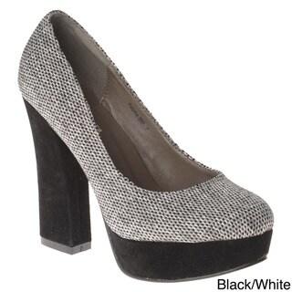Henry Ferrera Women's Two-tone Block Heel Pumps