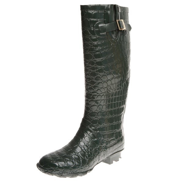 Henry Ferrera Women's Crocodile Embossed Rain Boots