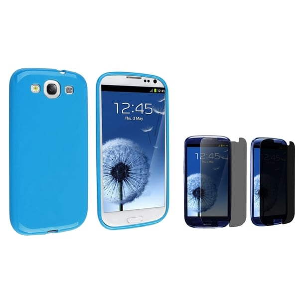 INSTEN TPU Phone Case Cover/ Privacy LCD Protector for Samsung Galaxy S III/ S3