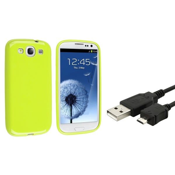 INSTEN TPU Phone Case Cover/ USB Cable for Samsung Galaxy S III/ S3
