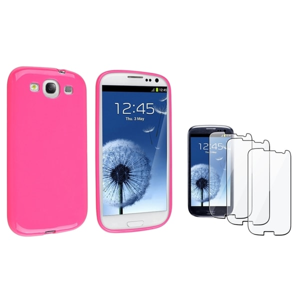INSTEN Pink TPU Phone Case Cover/ Screen Protector for Samsung Galaxy S III/ S3
