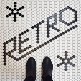 SomerTile 10.25x11.75-inch Victorian Hex White and Black Snowflake Porcelain Mosaic Floor Tile (10 tiles/8.56 sqft.)