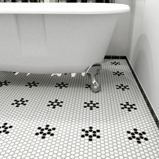 SomerTile 10.25x11.75-inch Metro Hex 1-inch Matte White/ Black Snowflake Porcelain Floor and Wall Tile