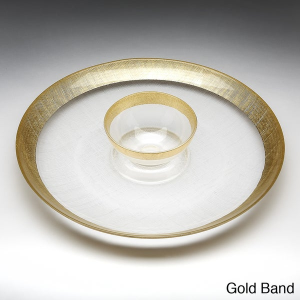 Red Pomegranate Gilded Tableware Linen Band Chip and Dip Bowl