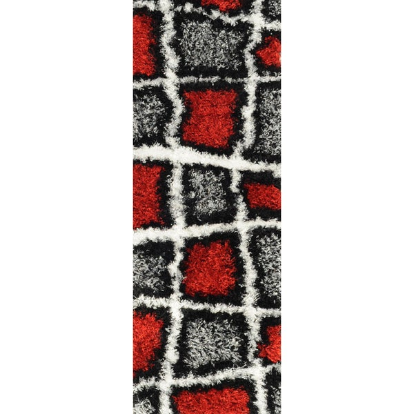 Red/ Grey Geometric Runner Rug (1'8x4'11)