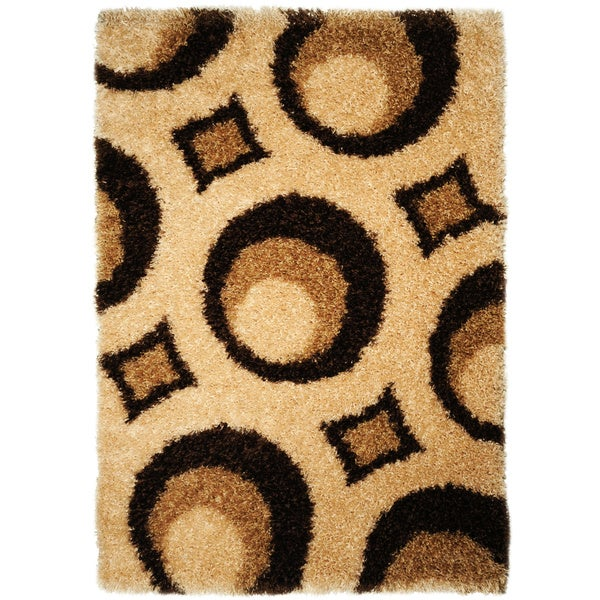 Brown Circle Design Shag Area Rug (5'x7')