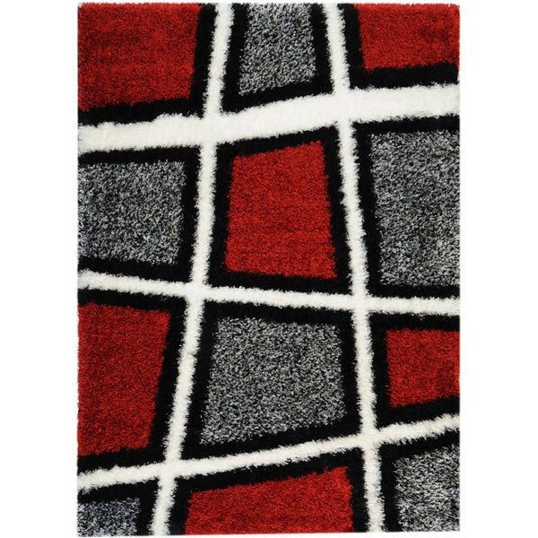red black white contemporary geometric shag area rug 5 39 x 7 39 free shipping today overstock. Black Bedroom Furniture Sets. Home Design Ideas