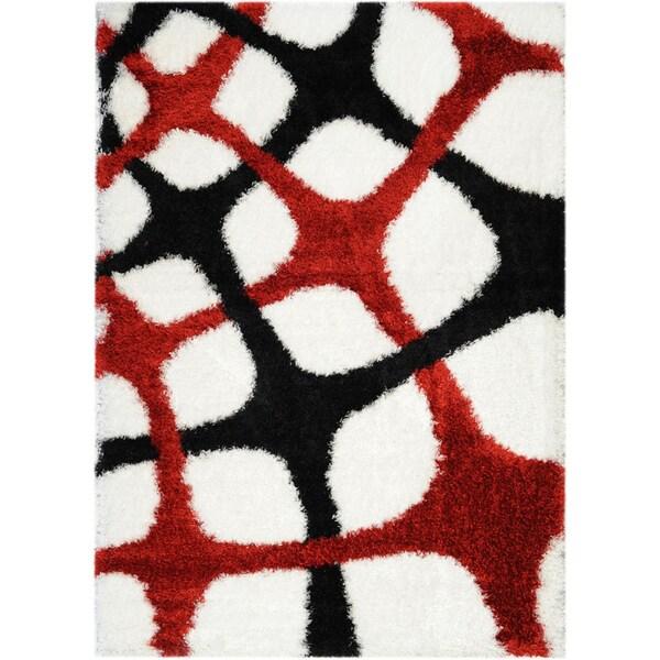 Black/ White Fishnet Design Area Rug (6'7x9'3)