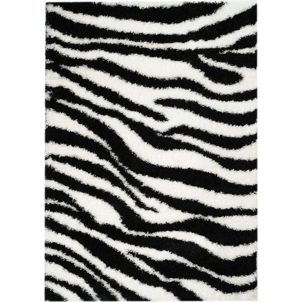 Black/ White Zebra Shag Rug (3'3 x 4'7)