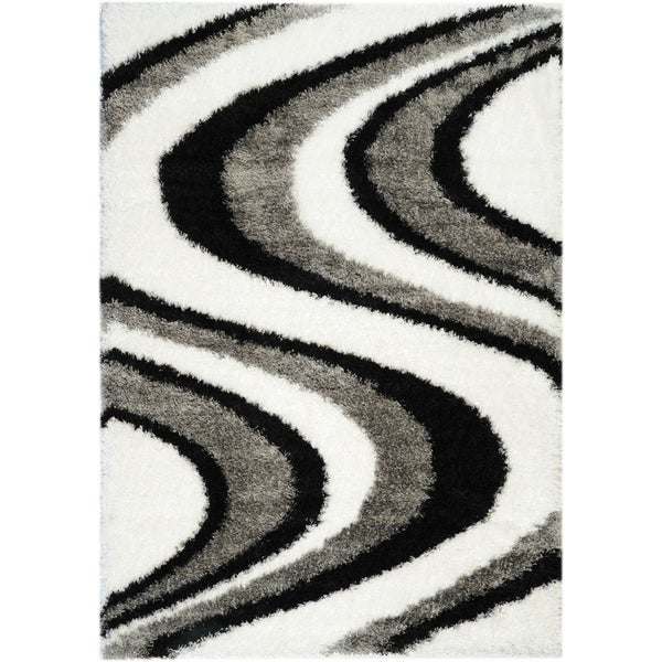 Black/ White Shag Area Rug (3'3 x 4'7)