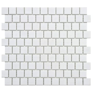 SomerTile 10.75x11.75-inch Victorian Square Glossy Offset Porcelain Mosaic Floor and Wall Tile (Case