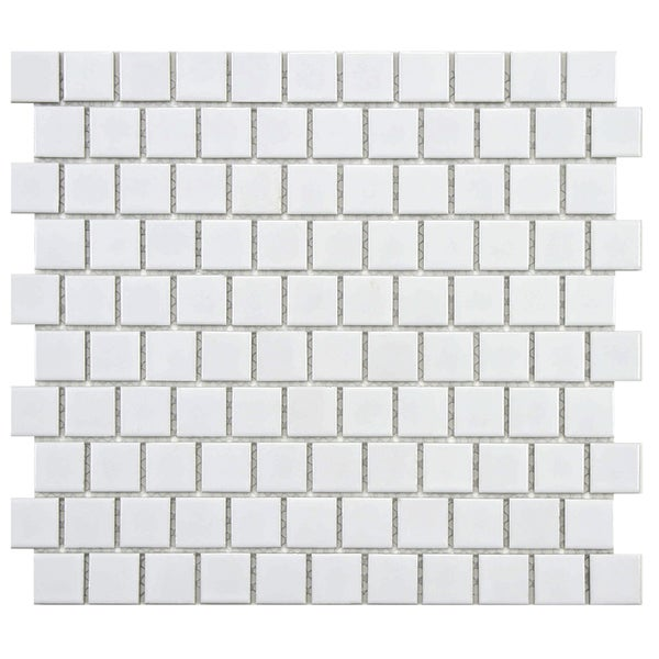 SomerTile 10.75x11.75-inch Victorian Square Glossy Offset Porcelain Mosaic Floor and Wall Tile (10 tiles/9.17 sqft.)