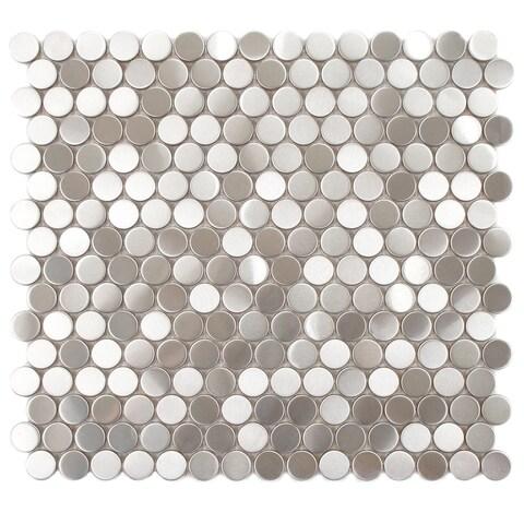 SomerTile 11.875x11.875-inch Chromium Penny Stainless Steel Over Porcelain Mosaic Wall Tile (10 tiles/9.8 sqft.)