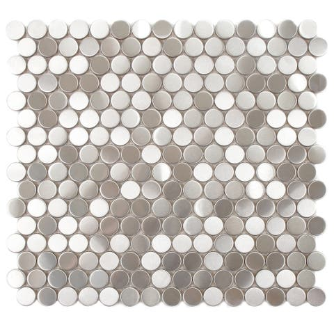 SomerTile 11.875x11.875-inch Chromium Penny Stainless Steel Over Porcelain Mosaic Wall Tile (10 tiles/9.8 sqft.)