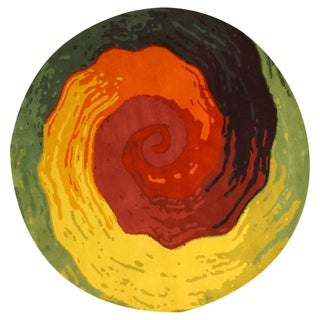 Hand-tufted Wool Contemporary Abstract Cowabunga Rug (6' Round) - 6'