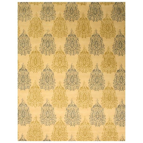 Hand-tufted Wool Ivory Transitional Abstract Royal Paisley Rug (5' x 8') - 5' x 8'