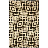 Hand-tufted Wool Black Contemporary Abstract Opto Curves Rug - 7'9 x 9'9