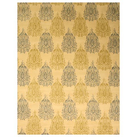 """Hand-tufted Wool Ivory Transitional Floral Royal Paisley Rug (7'9 x 9'9) - 7'9"""" x 9'9"""""""