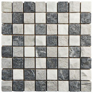 SomerTile 12x12-inch Griselda Square Charcoal Natural Stone Mosaic Wall Tile (Case of 10)
