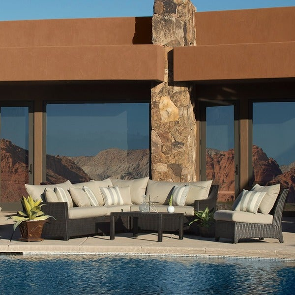 RST Brands Slate 6 Piece Corner Sectional Sofa And Coffee Table Outdoor Patio  Set