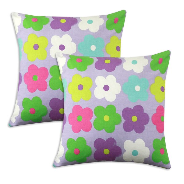 Happy Days Lavender Floral 17x17-inch Square Pillows (Set of 2)