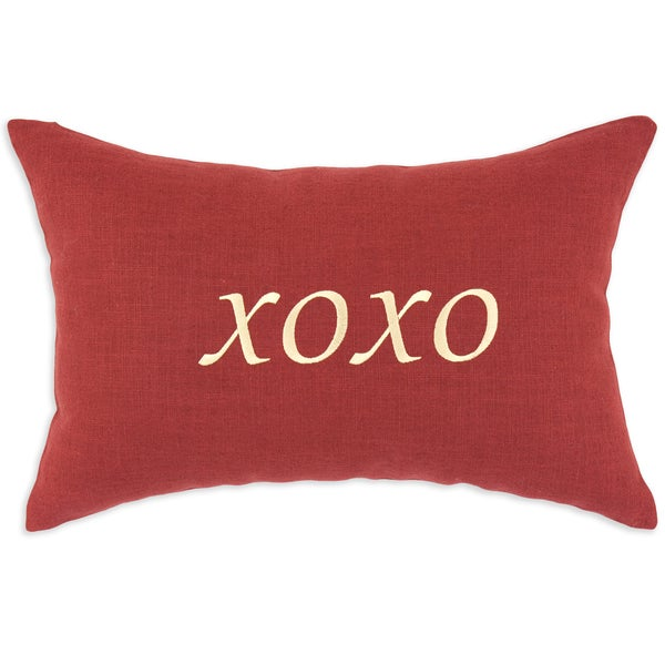 Circa Linen Lava 12.5x19-inch 'XOXO' Embroidered Pillow