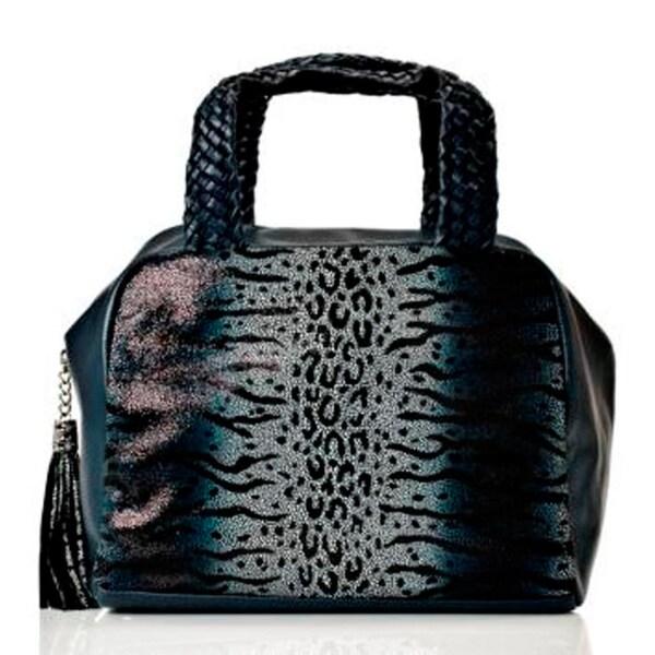 Vintage Reign 'Coco' Navy Leather Animal Print Bowler Bag