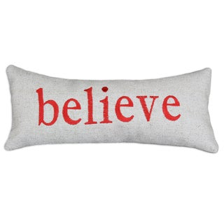 Wisdom 'Believe' Burlap with Red Embroidery 6x14-inch Bolster Pillow