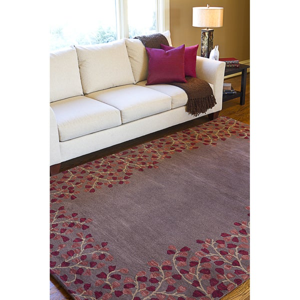 Hand-tufted PoppyBorder Coffee Bean Wool Area Rug - 5' x 8'