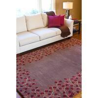 Hand-tufted PoppyBorder Coffee Bean Wool Area Rug - 5' x 8'